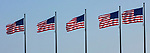 American flags fly over Chicago's Navy Pier at Lake Michigan. (DePaul University/Jamie Moncrief)