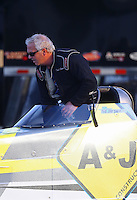 Feb 9, 2017; Pomona, CA, USA; NHRA top alcohol dragster driver Don St. Arnaud during qualifying for the Winternationals at Auto Club Raceway at Pomona. Mandatory Credit: Mark J. Rebilas-USA TODAY Sports