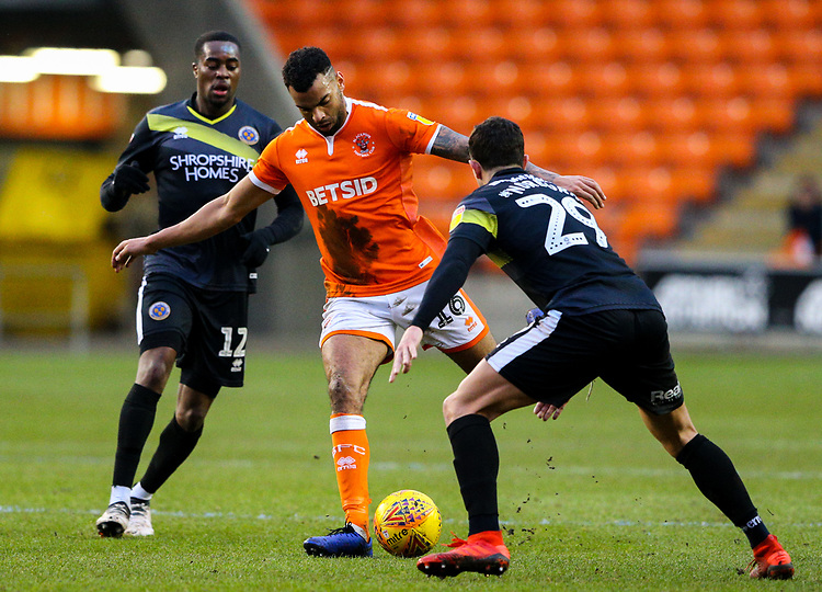 Blackpool's Curtis Tilt battles with Shrewsbury Town's Ollie Norburn and Fejiri Okenabirhie<br /> <br /> Photographer Alex Dodd/CameraSport<br /> <br /> The EFL Sky Bet League One - Blackpool v Shrewsbury Town - Saturday 19 January 2019 - Bloomfield Road - Blackpool<br /> <br /> World Copyright © 2019 CameraSport. All rights reserved. 43 Linden Ave. Countesthorpe. Leicester. England. LE8 5PG - Tel: +44 (0) 116 277 4147 - admin@camerasport.com - www.camerasport.com