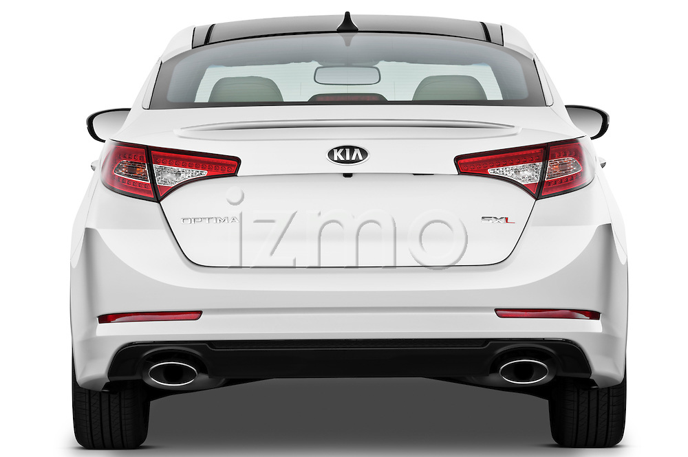 Straight rear view of a 2013 Kia Optima SXL