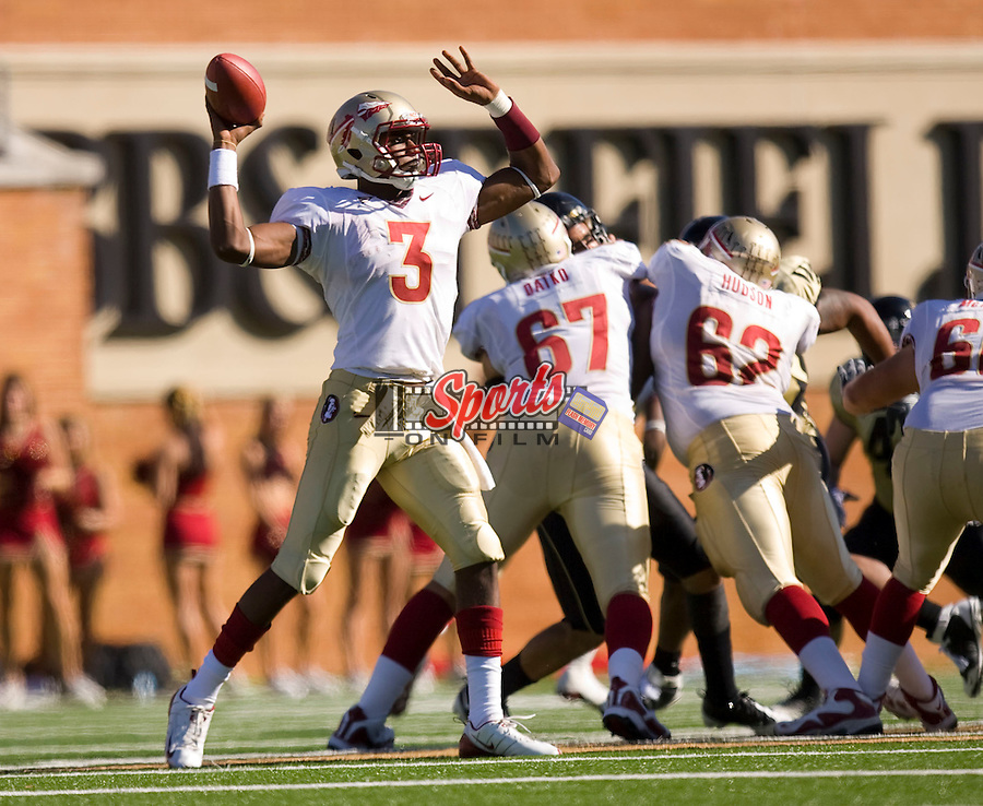 WINSTON SALEM, NC - NOVEMBER 14:  EJ Manuel #3 of the Florida State Seminoles makes a pass against the Wake Forest Demon Deacons at BB&T Field on November 14, 2009 in Winston Salem, North Carolina.  The Seminoles defeated the Demon Deacons 41-28.  Photo by Brian Westerholt / Sports On Film