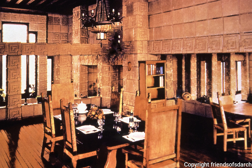 Frank Lloyd Wright, Architect. Ennis-Brown House, interior. Mayan design. Photo Jan. 1976.
