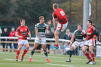 Kieran Murphy of London Welsh collects the ball ahead of Curtis Wilson of Ealing Trailfinders (2nd left) during the Greene King IPA Championship match between Ealing Trailfinders and London Welsh RFC at Castle Bar , West Ealing , England  on 26 November 2016. Photo by David Horn / PRiME Media Images