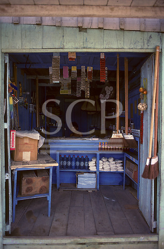 Manaus, Brazil. Small poor shop with few goods in a clean wooden shack.