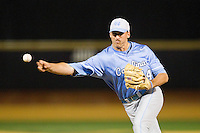 North Carolina Tar Heels relief pitcher Trevor Kelley (44) delivers a pitch to the plate against the Wake Forest Demon Deacons at Wake Forest Baseball Park on March 9, 2013 in Winston-Salem, North Carolina.  The Tar Heels defeated the Demon Deacons 20-6.  (Brian Westerholt/Four Seam Images)