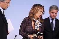 Roma, 20 Marzo 2012.Palazzo chigi.Conferenza stampa dopo l'incontro tra il governo e le parti sociali sulla riforma del Mercato del lavoro.Emma Marcegaglia Presidente Confindustria
