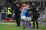 Jose Callejon of Napoli is substituted for Matteo Politano during the Coppa Italia match at Giuseppe Meazza, Milan. Picture date: 12th February 2020. Picture credit should read: Jonathan Moscrop/Sportimage