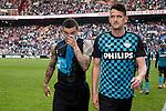Nederland, Amsterdam, 25 maart 2012.Eredivisie.Seizoen 2011-2012.Ajax-PSV 2-0.Wilfred Bouma en Jan Vennegoor of Hesselink van PSV balen na de 2-0 nederlaag tegen Ajax