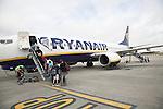 People boarding Ryanair plane, Stanstead airport, Essex, England Stanstead airport, Essex, England, UK