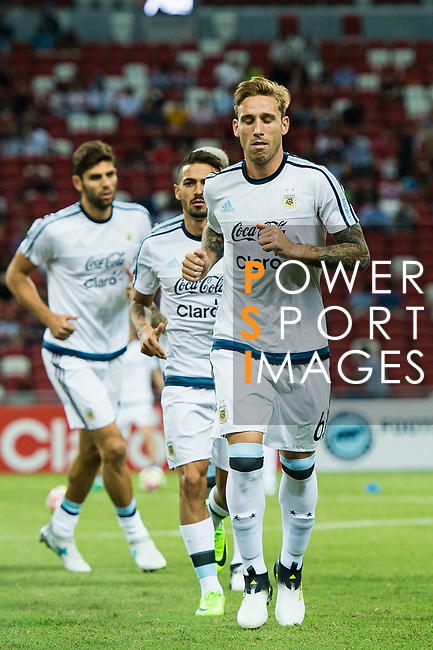 Lucas Biglia of Argentina warming up during the International Test match between Argentina and Singapore at National Stadium on June 13, 2017 in Singapore. Photo by Marcio Rodrigo Machado / Power Sport Images