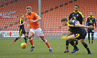 Blackpool's Nick Anderton under pressure from Oxford United's Rob Dickie<br /> <br /> Photographer Kevin Barnes/CameraSport<br /> <br /> The EFL Sky Bet League One - Blackpool v Oxford United - Saturday 23rd February 2019 - Bloomfield Road - Blackpool<br /> <br /> World Copyright © 2019 CameraSport. All rights reserved. 43 Linden Ave. Countesthorpe. Leicester. England. LE8 5PG - Tel: +44 (0) 116 277 4147 - admin@camerasport.com - www.camerasport.com