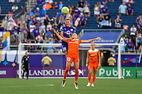Orlando, FL - Thursday June 23, 2016: Denise O'Sullivan, Becky Edwards during a regular season National Women's Soccer League (NWSL) match between the Orlando Pride and the Houston Dash at Camping World Stadium.