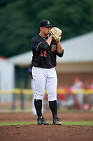 Batavia Muckdogs relief pitcher Bryce Howe (52) looks in for the sign during a game against the Williamsport Crosscutters on June 22, 2018 at Dwyer Stadium in Batavia, New York.  Williamsport defeated Batavia 9-7.  (Mike Janes/Four Seam Images)