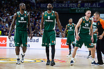 Panathinaikos James Gist, Chris Singleton, Marcus Denmon and Matt Lojeski during Turkish Airlines Euroleague Quarter Finals 3rd match between Real Madrid and Panathinaikos at Wizink Center in Madrid, Spain. April 25, 2018. (ALTERPHOTOS/Borja B.Hojas)