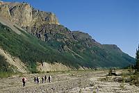 Backpacking up chitistone river, chitistone canyon, Wrangell St. Elias National Park, Alaska.