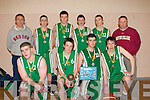 TOP TEAM: The Meadowlands St Brendans team winners of the Kerry U18's County League Basketball Final at Presentation Tralee on Thursday front l-r: Jamie Lowhan, Owen Quigley (Capt and player of the game), Declan Doody and Martin Flavin. Back l-r: Denis Costelloe (Coach), Liam O'Sullivan, Donal Moyinhan, Diarmuid Herlihy, Greg Barry and Stephen Gallagher (assistant Coach).