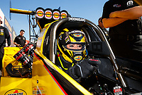 Jan 31, 2018; Chandler, AZ, USA; NHRA top fuel driver Leah Pritchett during Nitro Spring Training Testing at Wild Horse Pass Motorsports Park. Mandatory Credit: Mark J. Rebilas-USA TODAY Sports
