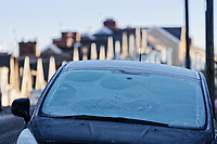WEATHER WALES<br /> Iced over cars in Cromwell Street during a frosty start to the morning in Swansea, Wales, UK. Wednesday 07 February 2018