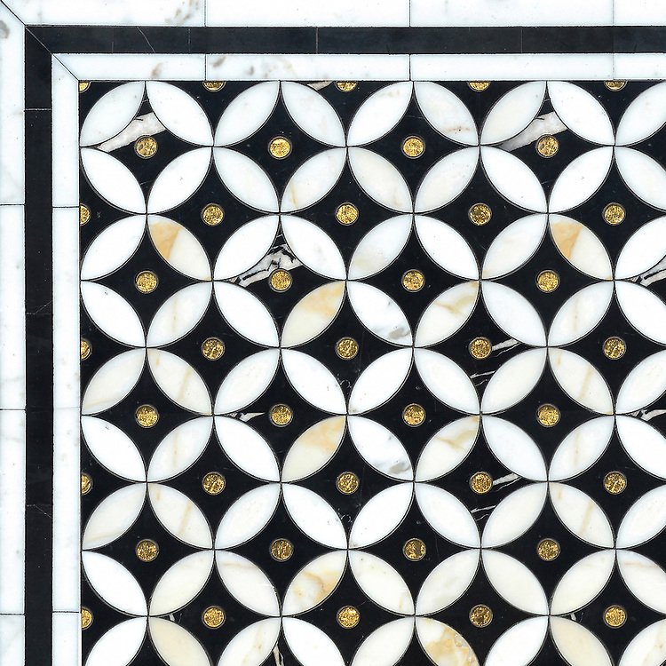 Ettienne Petite, a waterjet mosaic shown in polished Calacatta, 24 K Gold Glass, and honed Nero Marquina, is part of the Aurora® collection by Sara Baldwin for New Ravenna.