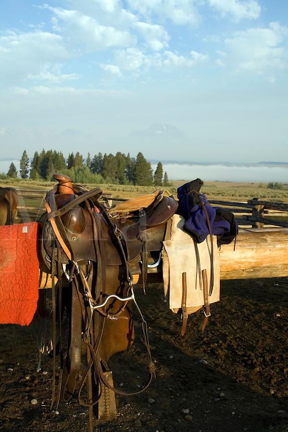 Saddle on ranch post