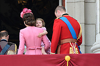 Catherine, Duchess of Cambridge; Princess Charlotte &amp; Prince William, Duke of Cambridge on the balcony of Buckingham Palace following the Trooping of the Colour Ceremony celebrating the Queen's official birthday. London, UK. <br /> 17 June  2017<br /> Picture: Steve Vas/Featureflash/SilverHub 0208 004 5359 sales@silverhubmedia.com