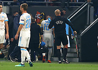 16th May 2018, Stade de Lyon, Lyon, France; Europa League football final, Marseille versus Atletico Madrid; An upset Dimitri Payet of Marseille being subbed off due to injury