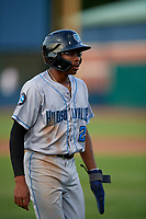 Hudson Valley Renegades Greg Jones (2) during a NY-Penn League game against the Mahoning Valley Scrappers on July 15, 2019 at Eastwood Field in Niles, Ohio.  Mahoning Valley defeated Hudson Valley 6-5.  (Mike Janes/Four Seam Images)