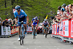 Richard Carapaz (ECU) Movistar Team, Thibaut Pinot (FRA) Groupama-FDJ and Miguel Angel Lopez (Col) Astana Pro Team approach the finish line of Stage 19 of the 2018 Giro d'Italia, running 185km from Venaria Reale to Bardonecchia featuring the Cima Coppi of this Giro, the highest climb on the Colle delle Finestre with its gravel roads, before finishing on the final climb of the Jafferau, Italy. 25th May 2018.<br /> Picture: LaPresse/Marco Alpozzi | Cyclefile<br /> <br /> <br /> All photos usage must carry mandatory copyright credit (&copy; Cyclefile | LaPresse/Marco Alpozzi)