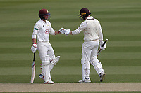 Rory Burns (L) and Mark Stoneman of Surrey during Surrey CCC vs Essex CCC, Specsavers County Championship Division 1 Cricket at the Kia Oval on 11th April 2019