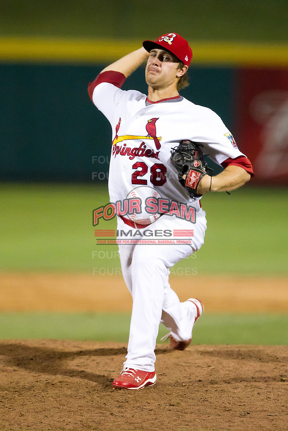 Brett Zawacki (28) of the Springfield Cardinals delivers a pitch during a game against the Tulsa Drillers at Hammons Field on July 19, 2011 in Springfield, Missouri. Tulsa defeated Springfield 17-11. (David Welker / Four Seam Images)