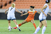 Houston, TX - Saturday July 08, 2017: Carli Lloyd attempts to strip the ball from Lindsey Horan during a regular season National Women's Soccer League (NWSL) match between the Houston Dash and the Portland Thorns FC at BBVA Compass Stadium.