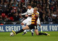 Pictured: (L-R) Pablo Hernandez, Andrew Davies. Sunday 24 February 2013<br /> Re: Capital One Cup football final, Swansea v Bradford at the Wembley Stadium in London.