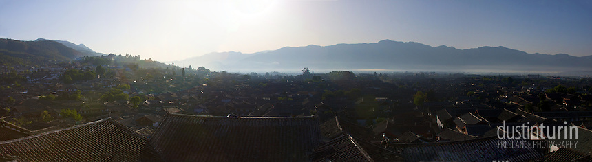 Early morning looking out over the city of Lijiang, China.