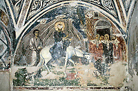 Entry into Jerusalem,wall-painting,crypt,AD 955,Osios Loukas Monastery,Greece