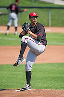 Billings Mustangs starting pitcher Jose Lopez (43) delivers a pitch to the plate against the Ogden Raptors in Pioneer League action at Lindquist Field on August 16, 2015 in Ogden, Utah.Billings defeated Ogden 6-3.  (Stephen Smith/Four Seam Images)