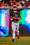 21 September 2018: Washington Nationals outfielder Bryce Harper returns to the dugout during a game against the New York Mets at Nationals Park in Washington, DC. The Mets defeated the Nationals 4-2 in the second game of their 4-game series. Mandatory Credit: Ed Wolfstein Photo *** RAW (NEF) Image File Available ***
