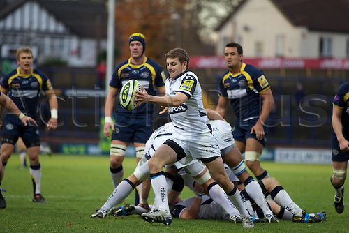 14.11.2010 LV= Cup Rugby Union. Leeds Carnegie v Sale. Dwayne Peel clears from his own line