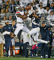 Ohio State Buckeyes wide receiver Michael Thomas (3) has a reception broken up by in the second half by Penn State Nittany Lions safety Marcus Allen (2)at Beaver Stadium on October 25, 2014.  (Chris Russell/Dispatch Photo)
