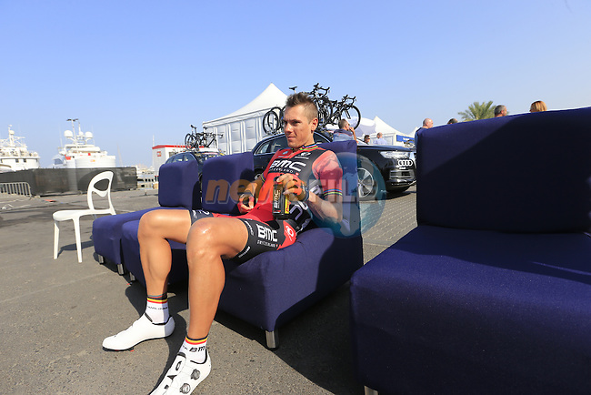 Philippe Gilbert (BEL) BMC Racing Team relaxes before the start of Stage 2, the Nakheel Stage, of the 2016 Dubai Tour starting at the Dubai International Marine Club and running 188km to Palm Jumeirah Atlantis, Dubai, United Arab Emirates. 4th February 2016.<br /> Picture: Eoin Clarke | Newsfile<br /> <br /> <br /> All photos usage must carry mandatory copyright credit (&copy; Newsfile | Eoin Clarke)