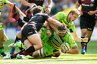 Tom Wood of Northampton Saints scores a try in the second half. Aviva Premiership match, between Saracens and Northampton Saints on September 2, 2017 at Twickenham Stadium in London, England. Photo by: Patrick Khachfe / JMP