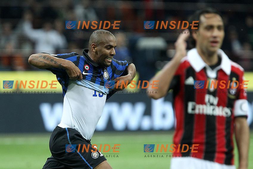"""Esultanza di Douglas Maicon Inter.Goal Celebration.Milano 06/05/2012 Stadio """"S.Siro"""".Football / Calcio Serie A 2011/12 Inter vs Milan.Foto Insidefoto Paolo Nucci."""