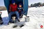 TORRINGTON, CT - 24 JANUARY 2009 -012409JT02-<br /> Mark Greatorex and his son Matthew, 4, of Waterbury, wait for a bite as they and others participated in an ice fishing clinic on Stillwater Pond in Torrington on Saturday. To see a video of this event, go to www.rep-am.com.<br /> Josalee Thrift / Republican-American