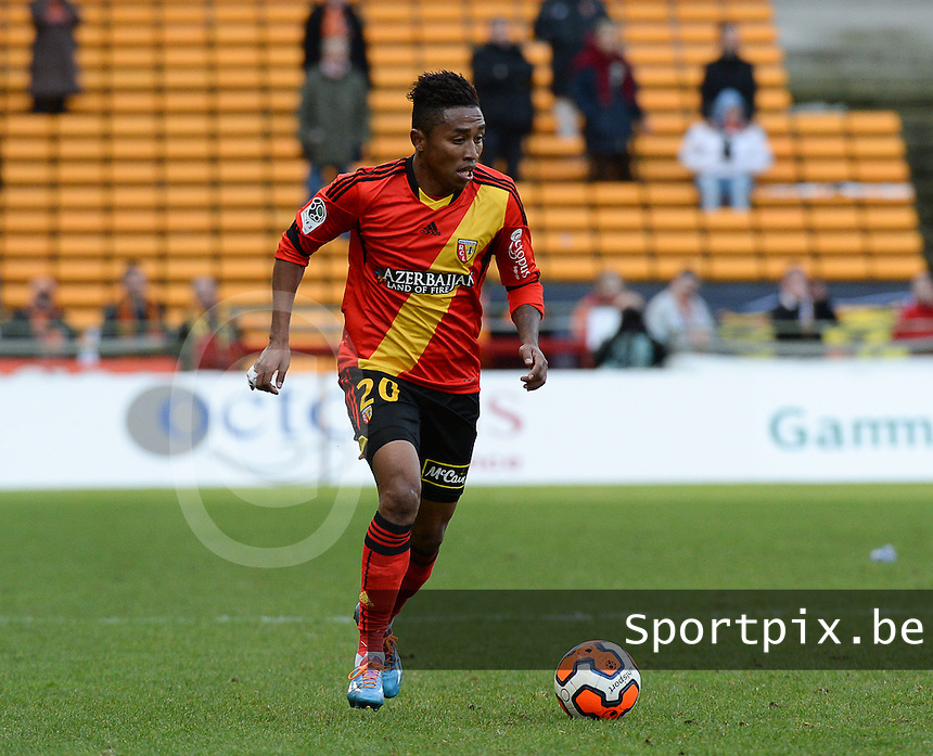 20140201 - LENS , FRANCE : RC Lens's Lalaina Nomenjanahary (l) pictured during the soccer match between Racing Club de LENS and Stade Lavallois , on the twenty second matchday in the French Ligue 2 at the Stade Bollaert Delelis stadium , Lens . Saturday 1st February 2014. PHOTO DAVID CATRY