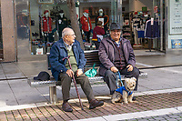 Mild Spanish winters allow pensioners to meet up for a chat. Estepona, Malaga, Spain, 201902080361<br /><br />Copyright Image from Victor Patterson, Belfast, UK, BT9 5HG<br /><br />t: +44 28 9066 1296 <br />(from Rep of Ireland 048 9066 1296) <br />m: +44 7802 353836 <br />victorpattersonbelfast@gmail.com <br />www.victorpatterson.com<br /><br />Please see my Terms and Conditions of Use at https://www.victorpatterson.com/page2 <br /><br />It is IMPORTANT that you familiarise yourself with them.<br /><br />Images used on the Internet incur an additional cost and must be visibly watermarked i.e. © Victor Patterson within the body of the image and copyright metadata must not be deleted. Images used on the Internet have a size restriction of 4kbs and are chargeable at rates available at victorpatterson.com.<br /><br />This image is only available for the use of the download recipient i.e. television station, newspaper, magazine, book publisher, etc, and must not be passed on to any third party. It is also downloaded on condition that each and every usage is notified within 7 days to victorpattersonbelfast@gmail.com<br /><br />The right of Victor Patterson to be identified as the author is asserted in accordance with The Copyright Designs And Patents Act (1988). All moral rights are asserted.