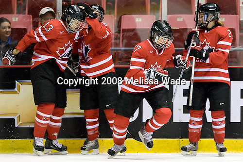 Caroline Ouellette (Canada - 13), ?, Jennifer Botterill (Canada - 17), Jocelyne Larocque (Canada - 23) - Team USA defeated Team Canada 4-3 (so) to win the 2008 Four Nations Cup on Sunday, November 9, 2008, in the 1980 Rink in Lake Placid, New York.