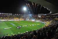 The Hurricanes run out to a fireworks display during the Super 15 rugby match between the Hurricanes and Chiefs at Westpac Stadium, Wellington, New Zealand on Friday, 13 July 2012. Photo: Dave Lintott / lintottphoto.co.nz