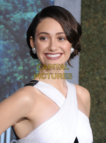 "Emmy Rossum.""Beautiful Creatures"" Los Angeles Premiere held at the TCL Chinese Theatre, Hollywood, California, USA.   .February 6th, 2013.headshot portrait black white criss cross pearl earrings smiling .CAP/DVS.©DVS/Capital Pictures."