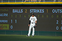Charlotte Knights right fielder Paulo Orlando (16) on defense against the Gwinnett Braves at BB&T BallPark on July 12, 2019 in Charlotte, North Carolina. The Stripers defeated the Knights 9-3. (Brian Westerholt/Four Seam Images)