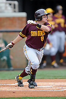 Arizona State Sun Devils left fielder Kasey Coffman #8 swings at a pitch during a game against  the Tennessee Volunteers at Lindsey Nelson Stadium on February 23, 2013 in Knoxville, Tennessee. The Volunteers won 11-2.(Tony Farlow/Four Seam Images).