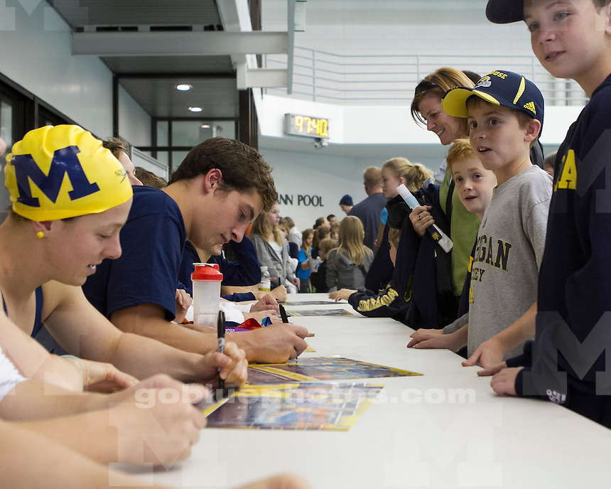 "The University of Michigan men's and women's swim and dive teams hosted the first ever ""Michigan Water Festival"" at Canham Natatorium in Ann Arbor, Mich., on October 6, 2012."